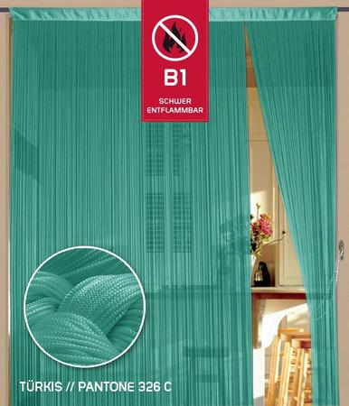 Fadenvorhang 150 cm x 500 cm (BxH) türkis in B1 schwer entflammbar