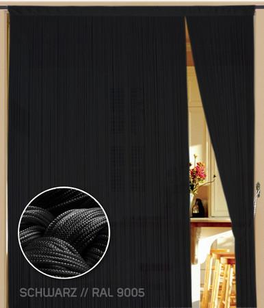 Fadenvorhang 090 cm x 200 cm (BxH) schwarz