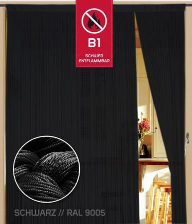 Fadenvorhang 090 cm x 200 cm (BxH) schwarz in B1 schwer entflammbar