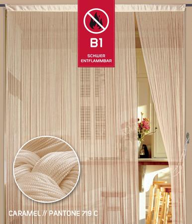 Fadenvorhang 150 cm x 300 cm (BxH) caramel in B1 schwer entflammbar
