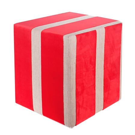 Sitzwürfel Samt Stoff rot-creme 35 cm x 35 cm x 45 cm