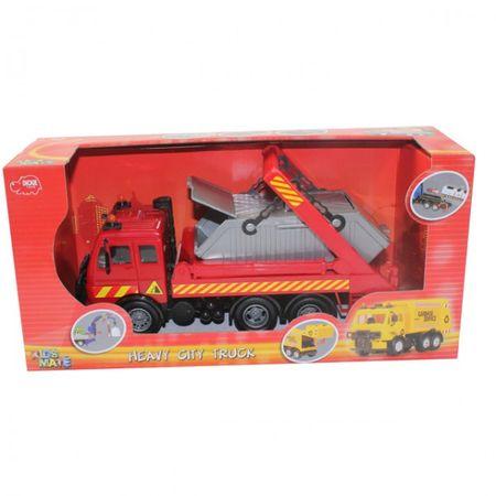 DICKIE Heavy City Truck LKW Friktion 25 cm Fahrzeug Spielzeug LKW Truck Holz Container  – Bild 3