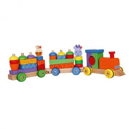 BELUGA Kala's lustiger Bausteinzug ab 1 Jahr Holz Bauklötze Baby Spielzeug Eisenbahn Dampflock