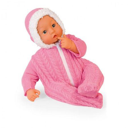 BAYER Baby Puppe rosa Weichkörperpuppe Schlafaugen Trinkflasche Schnuller Strick Mädchen 46cm