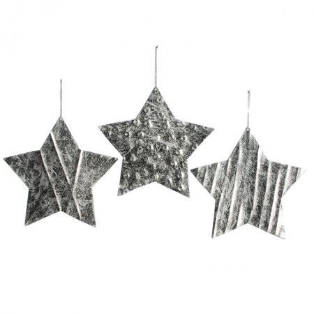 3er Set STERN Aufhänger silber gold kupfer 24 cm Metall Fenster Deko Weihnachten  – Bild 3