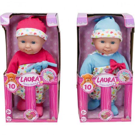 Weichkörper Puppe Laura kitzel mich 30cm mit Mütze Tickle Baby 10 Babysounds pink blau  – Bild 1