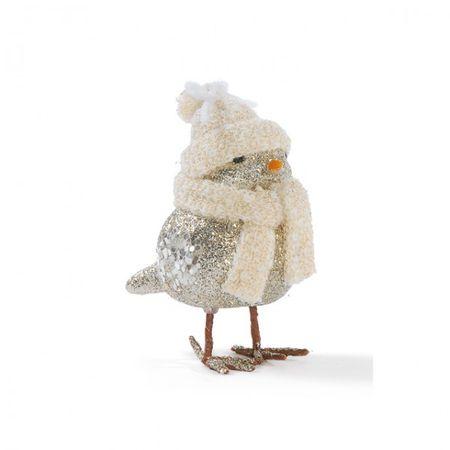 Aufsteller Vogel Größe:M silber Mütze 12cm Figur Glitzer Schal Weihnachten Deko Tisch