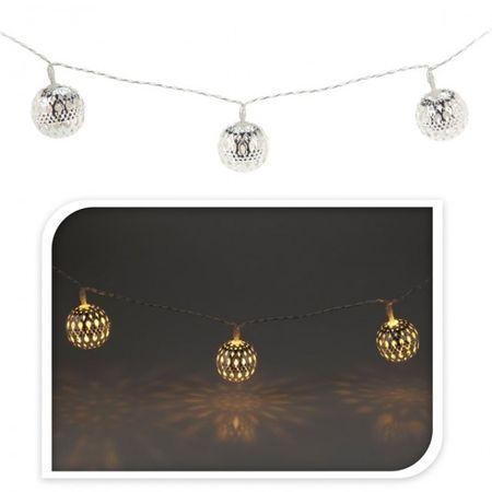 Weihnachts Lichterkette 10 LED Kugeln roségold silber rot Weihnachten Beleuchtung Deko  – Bild 2