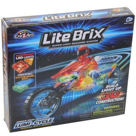 Cra-Z-Art 35802 Lite Brix Lumi Cycle Motorrad Spielzeug Baukasten 3D LED Lights Construction – Bild 1