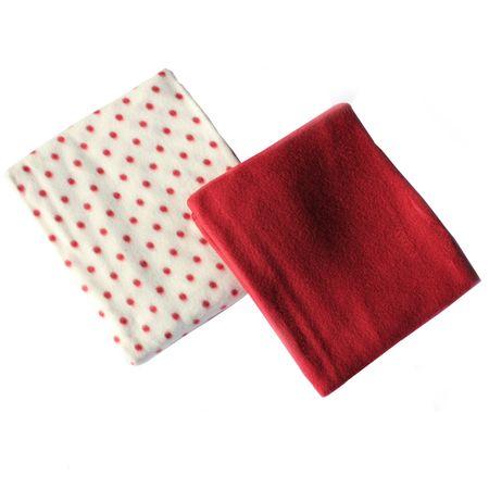 Fleecedecke 2er Set Decke beige grau rot braun 130 x 170cm Kuscheldecke Wohnzimmerdecke – Bild 4