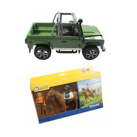 Bruder bworld Figurenset Reiten Land Rover moosgrün Reiter Reiterin Figur Auto