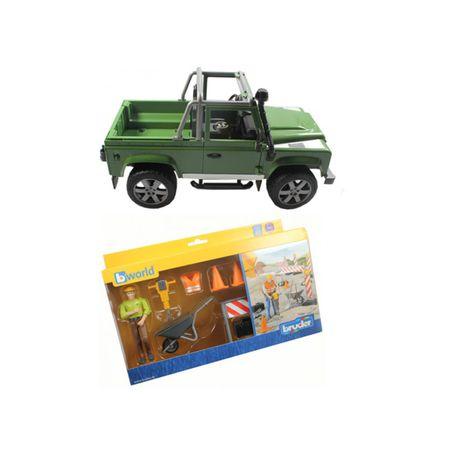 Bruder bworld Figurenset Baustelle Land Rover Spielzeug Auto Modellauto Figur