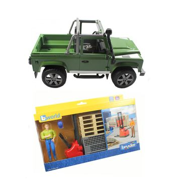 Bruder bworld Figurenset Logistik Land Rover Defender grün Stapler Gabelstapler