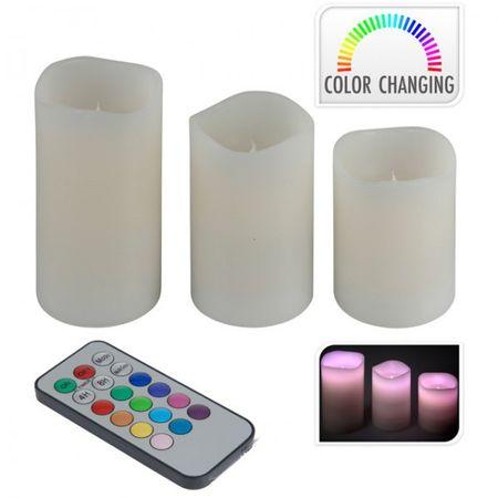 3er Set LED Flammenlose Farbwechsel Kerzen weiß mit Fernbedienung Echtwachskerzen Kerzenset Wachskerze – Bild 2