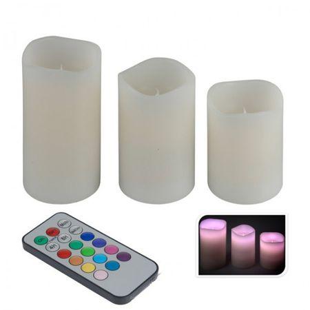 3er Set LED Flammenlose Farbwechsel Kerzen weiß mit Fernbedienung Echtwachskerzen Kerzenset Wachskerze – Bild 1
