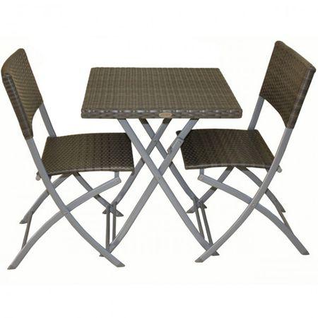 3-tlg. Balkonset Sitzgruppe NORFOLK grau Stahl Kunststoffgeflecht Rattan Optik Tisch 2 Stühle klappbar