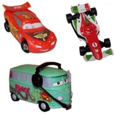 Set 2: Disney Cars Autofiguren Set Lightning MqQueen Francesco Bernoulli Fillmore Kunststoff