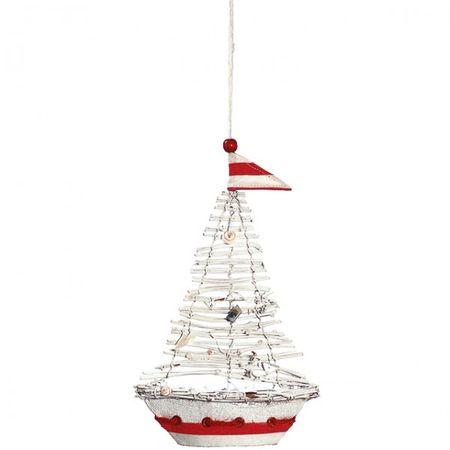 Anhänger Aufhänger Segelboot 25cm Deko Boot Schiff Badezimmer Küche Wohnzimmer Dekoration