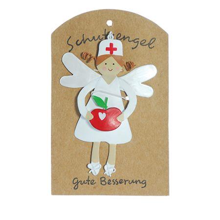 Anhänger Schutzengel GUTE BESSERUNG Metall 9cm Blumen Apfel Bonbon Engel Glück – Bild 3
