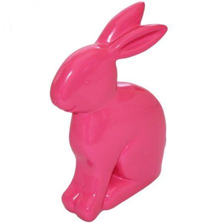 Hase Polyresin 20 cm sitzend pink gelb grün weiß Ostern Deko Figur Kaninchen Osterhase – Bild 5