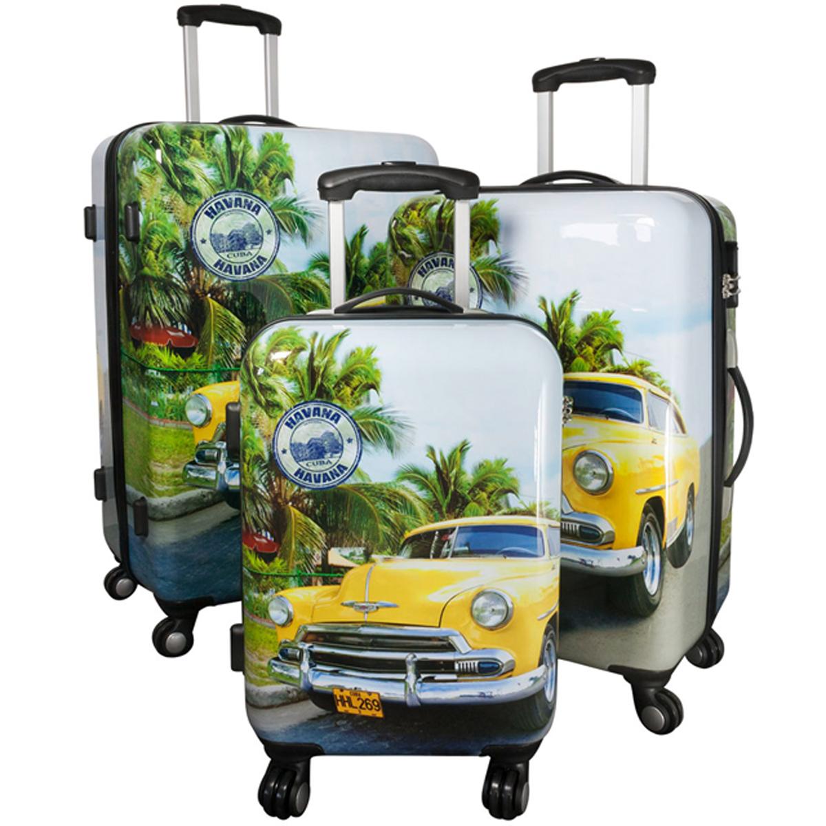 poly abs kofferset 3tlg trolley hartschalenkoffer hawaii havana reise 4 rollen sport und. Black Bedroom Furniture Sets. Home Design Ideas