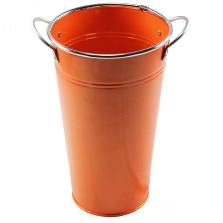 Topf mit Griff Balkon Metall Blumentopf Übertopf grün orange weiß Deko – Bild 4