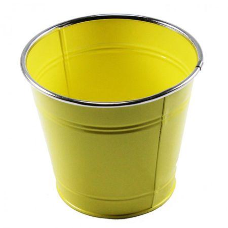 Topf rund Balkon Metall Blumentopf Übertopf grün orange weiß gelb pink Deko – Bild 4