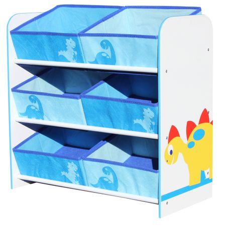 Toy Organizer DINO Dinosaur Kids Storage Regal Aufbewahrungsboxen Kinderregal 6 Boxen – Bild 1
