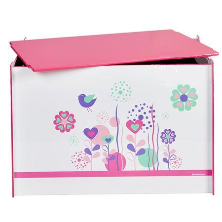 Toy Box Spielzeugbox mit Griff und Deckel Holz Blumen Vögel weiß Kiste Box Aufbewahrungsbox Spielzeug
