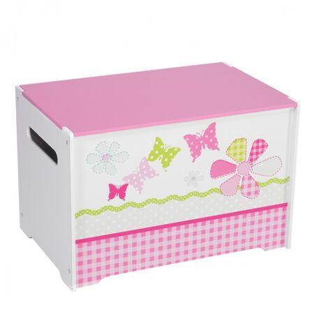Toy Box Spielzeugbox mit Griff Holz Patchwork pink Blumen Kiste Box Aufbewahrungsbox Spielzeug Kinderzimmer