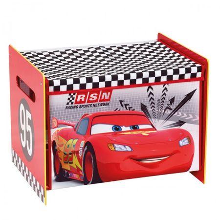 Disney Cars Lightning McQueen Toy Box Spielzeugkiste Aufbewahrung Kinderzimmer Spielzeug Holz +Canvas