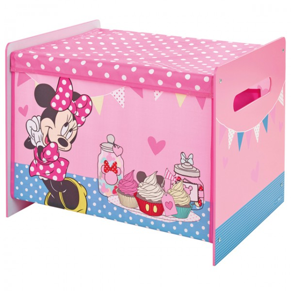 disney minnie mouse toy box spielzeugkiste aufbewahrung kinderzimmer spielzeug holz canvas baby. Black Bedroom Furniture Sets. Home Design Ideas