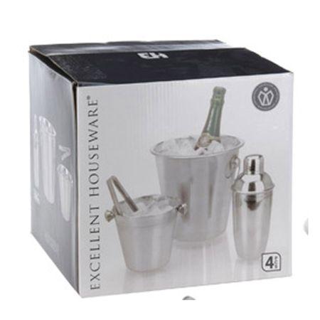 Cocktail Mixer Set Sekt Champagner Eimer Eiszange Eis Becher Stahl Zange Shaker