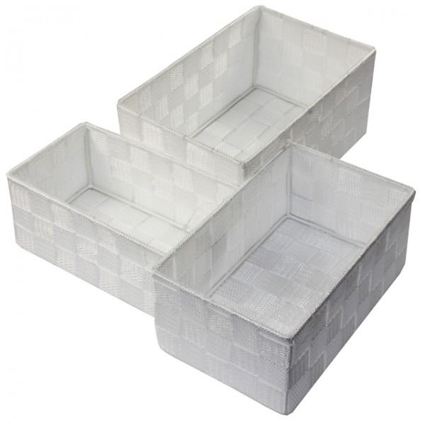 aufbewahrungsbox 3er set geflochten rechteckig badezimmer box korb 8 farben m bel wohnen und. Black Bedroom Furniture Sets. Home Design Ideas