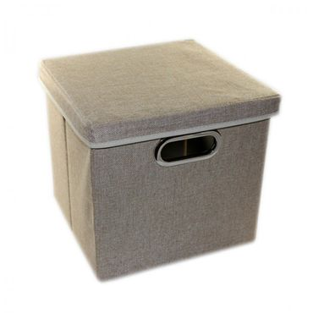 Aufbewahrungsbox mit Deckel 27x28x30 cm schwarz grau beige Kiste Box Korb – Bild 4