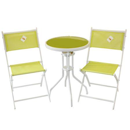 3tlg. Balkonset LARA Sitzgruppe Weiß grün Garnitur Gartenmöbel Balkonmöbel Glas