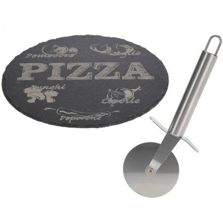 PIZZA Set Schieferplatte mit Schneider Pizzaroller Pizzaschneider Pizzateller
