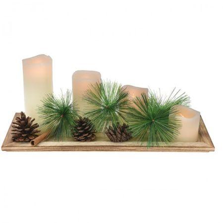 Dekoset LED Kerzen 33cm cremefarben Adventsgesteck Weihnachtsgesteck mit LED