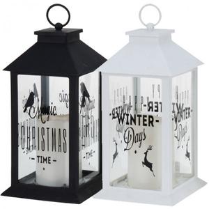 LED Laterne mit Kerze weiß oder schwarz mit Spruch/Text 28cm Weihnachten Deko