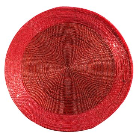 Platzset 30 cm rot/goldfarben/silberfarben Tischdeko Untersetzer Schoner Matten Weihnachten – Bild 2