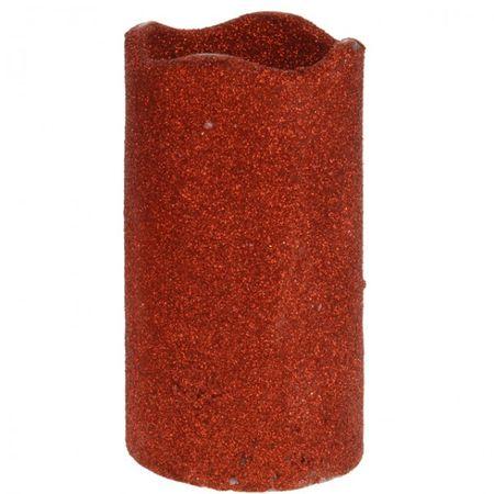 LED Kerze 7x13 cm Timer goldfarben rot silberfarben weiß kupfer glitzer matt  – Bild 3