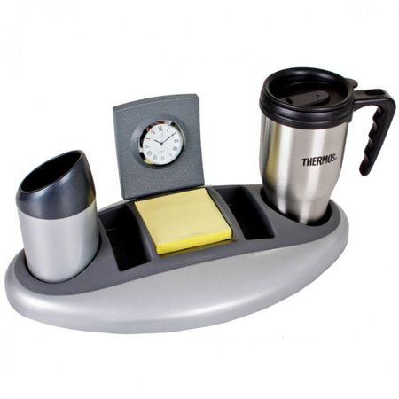 Schreibtisch-Organizer mit Trinkbecher, Uhr und Ablagefächer Sortiert Ordnung