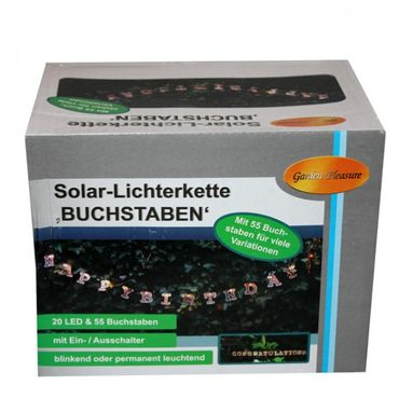 Solar Lichterkette 20 LED 390cm mit 55 Buchstaben individueller Schriftzug Party