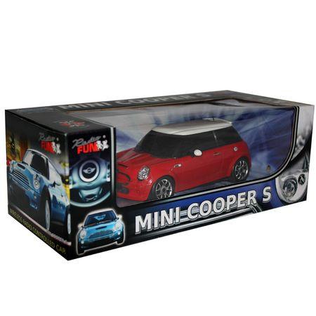 Modellauto Mini Cooper rot/blau 1:24 ferngesteuert RC Spielzeug Kinder ab 6 Jahre – Bild 1