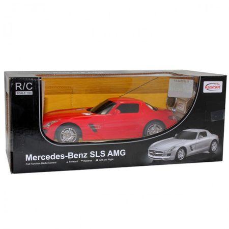 Modellauto Mercedes SLS AMG ferngesteuert rot/silberfarben 1:24 Batterie Kinder – Bild 3
