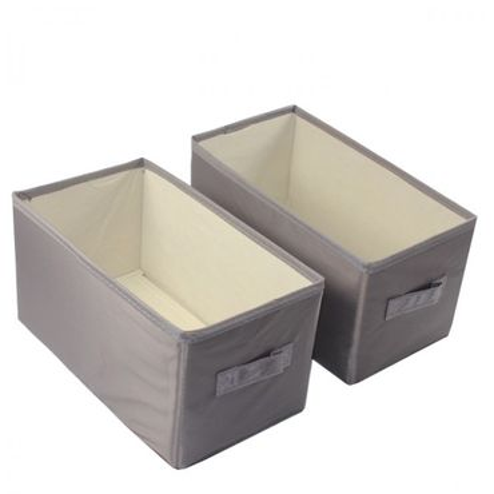 2er Set Aufbewahrungsbox mit Griff grau mit Punkten, Braun ca. 14x26x13,5 Kiste – Bild 2