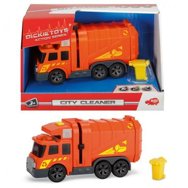 DICKIE City Cleaner Set Müllabfuhr Orange Tonne Müll Auto Wagen Kinder