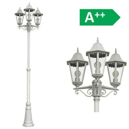 Kandelaber Norderney 220cm weiß Alu Druckguss Außenbeleuchtung Lampe Stehlampe