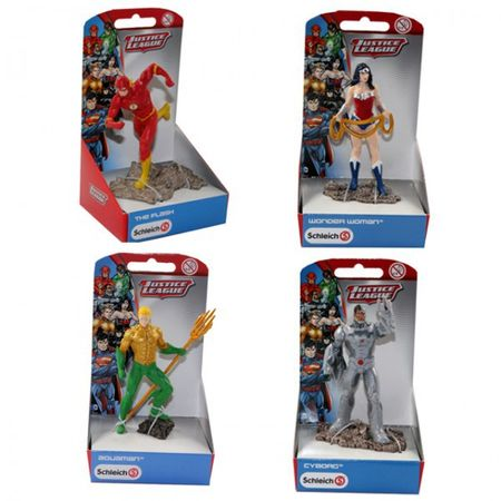4tlg. SCHLEICH Set CYBORG The Flash Wonder Woman Aquaman Justice League Comic