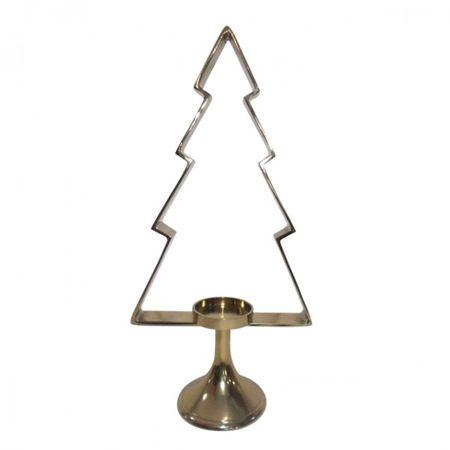 Weihnachtsbaum Aurum mit Windlicht Kerze Teelichthalter Gold Tannenbaum Ständer
